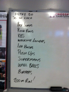 I stole this picture from April , but this is what the Filthy 50 workout looks like. Eeeek!