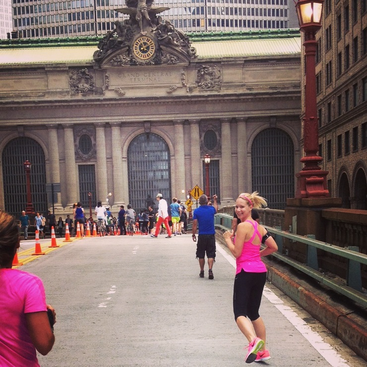 Running in NYC during summer streets on Park Avenue
