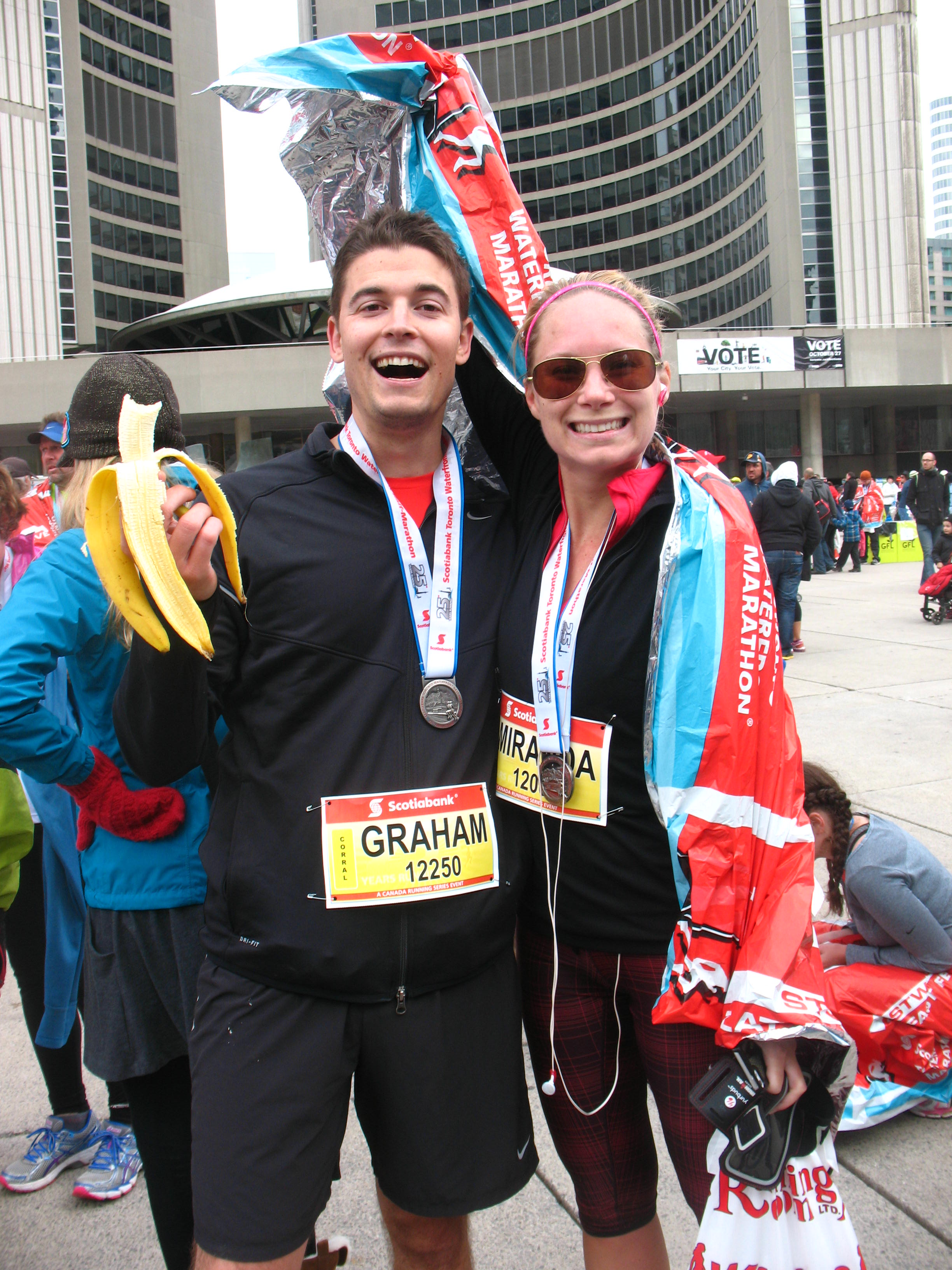 """Nothing says """"I just finished a half marathon"""" like bananas and space blankets!"""