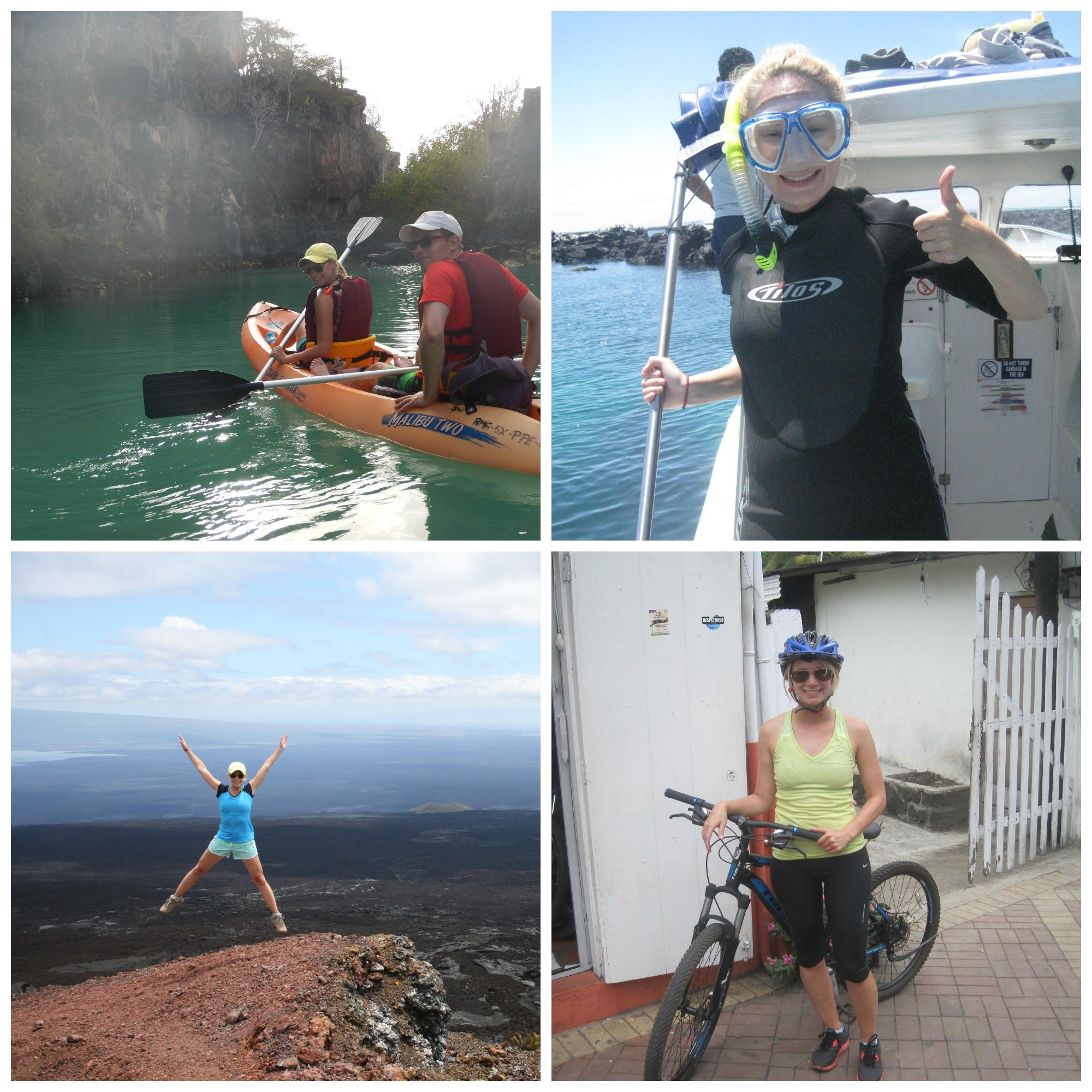 Kayaking, snorkelling, hiking and biking. All fine forms of cross training. And even better when you can do them in the Galapagos Islands!