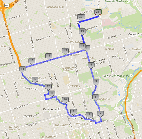 My route on Saturday in Toronto