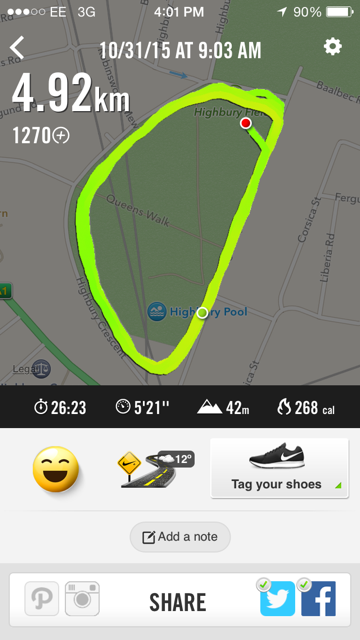 Nike+ thinks this Park Run isn't quite 5K, but close enough. Not a bad time for a course that is more than 50% uphil!
