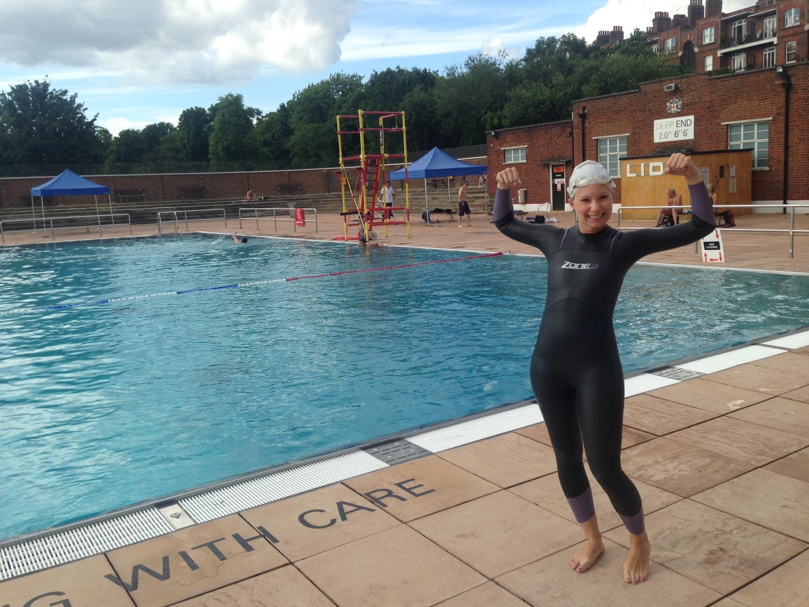 Practicing in my wetsuit at the Hamstead Heath Lido, an outdoor 60m swimming pool