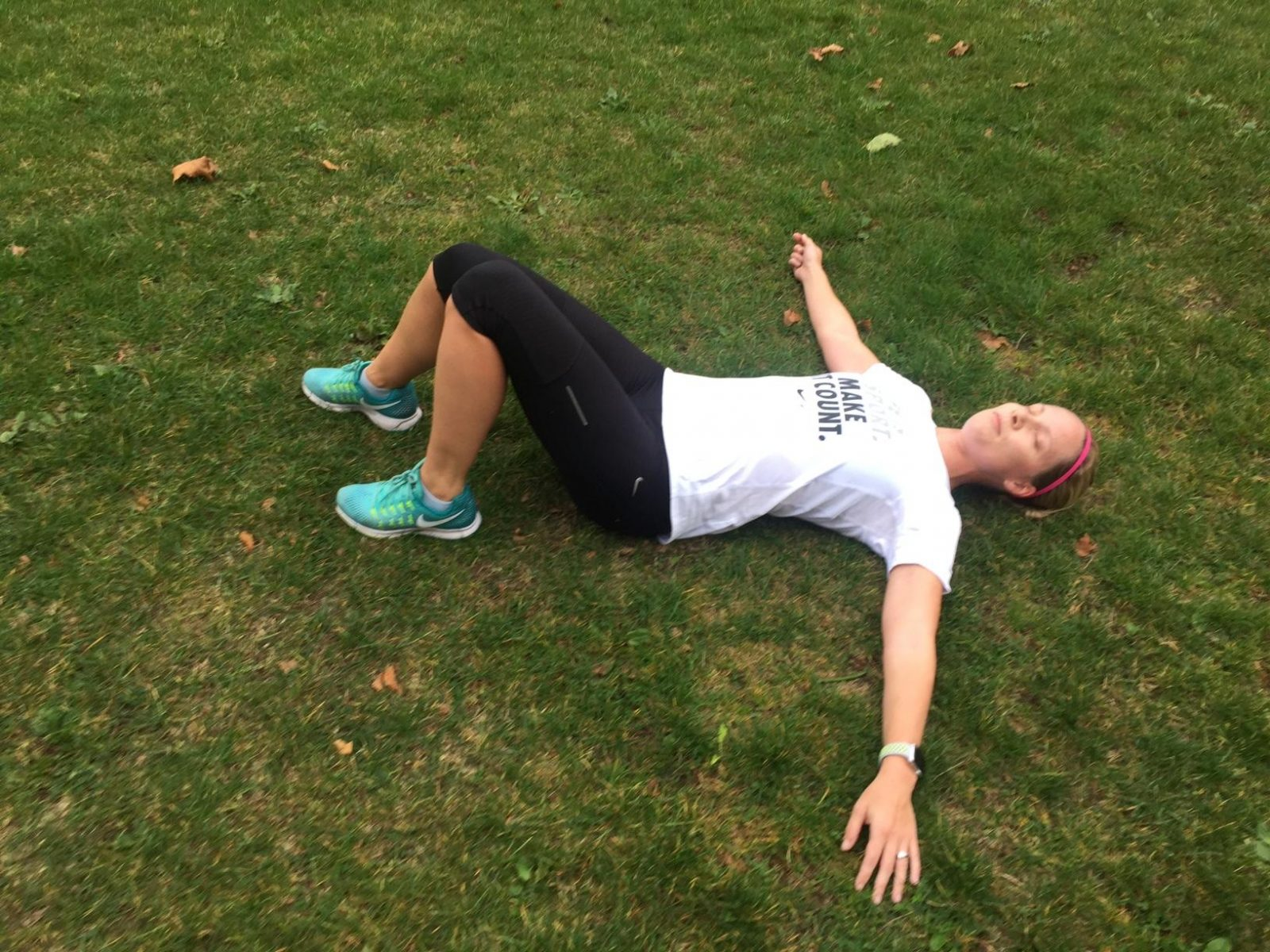 Sometimes you just gotta collapse in the grass after a tough 5K.