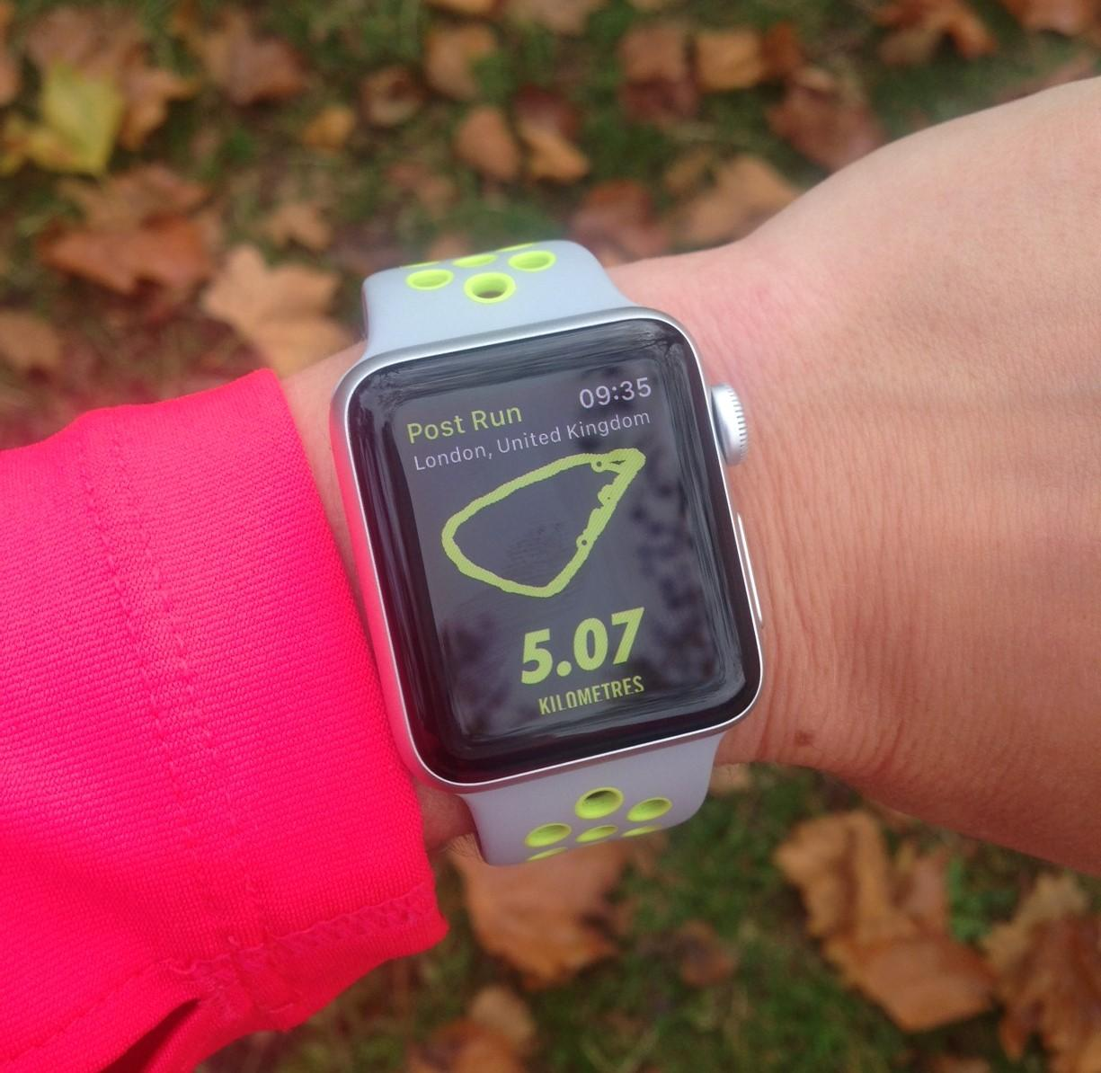 Testing out the watch at a recent Parkrun