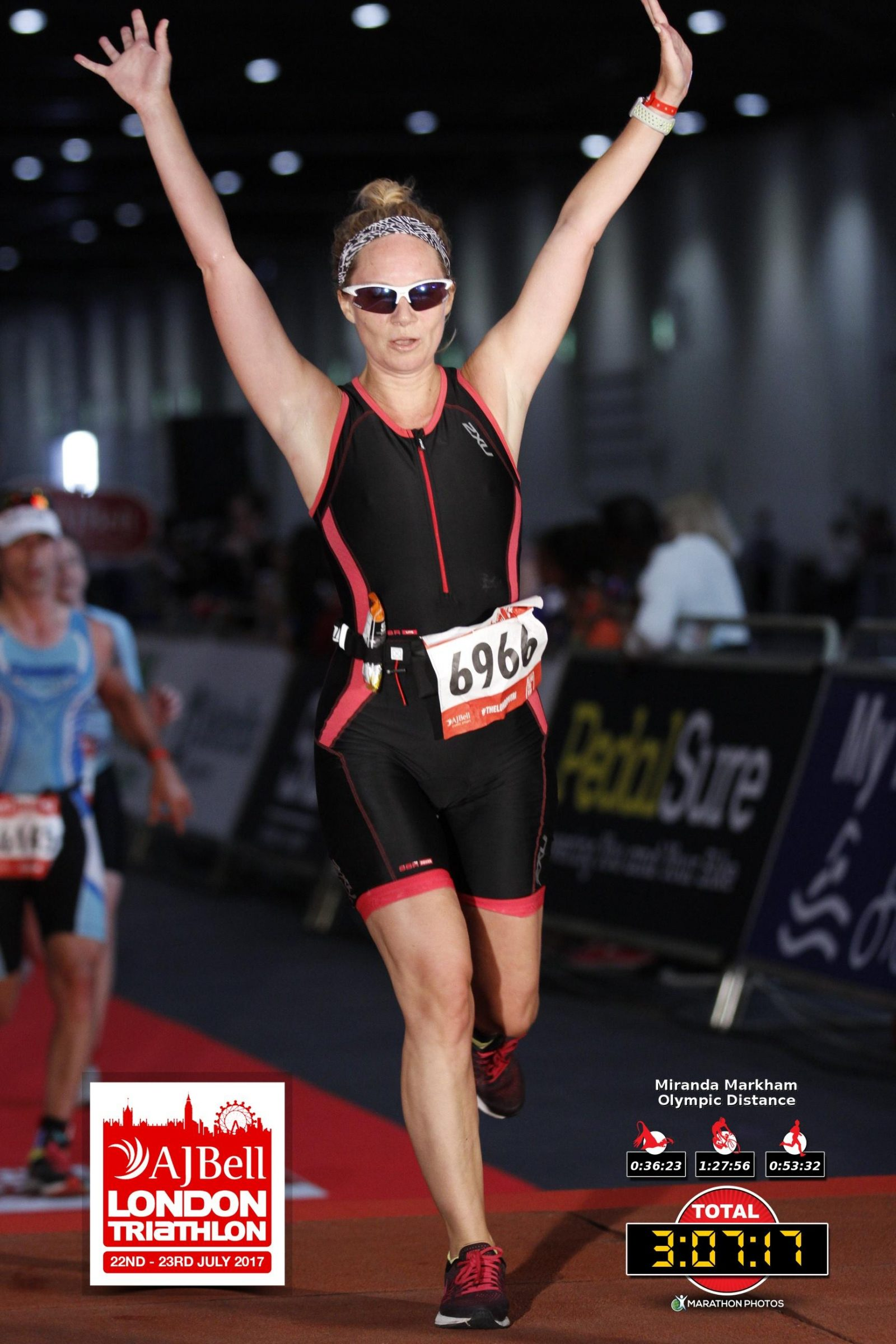 The London Triathlon finish line