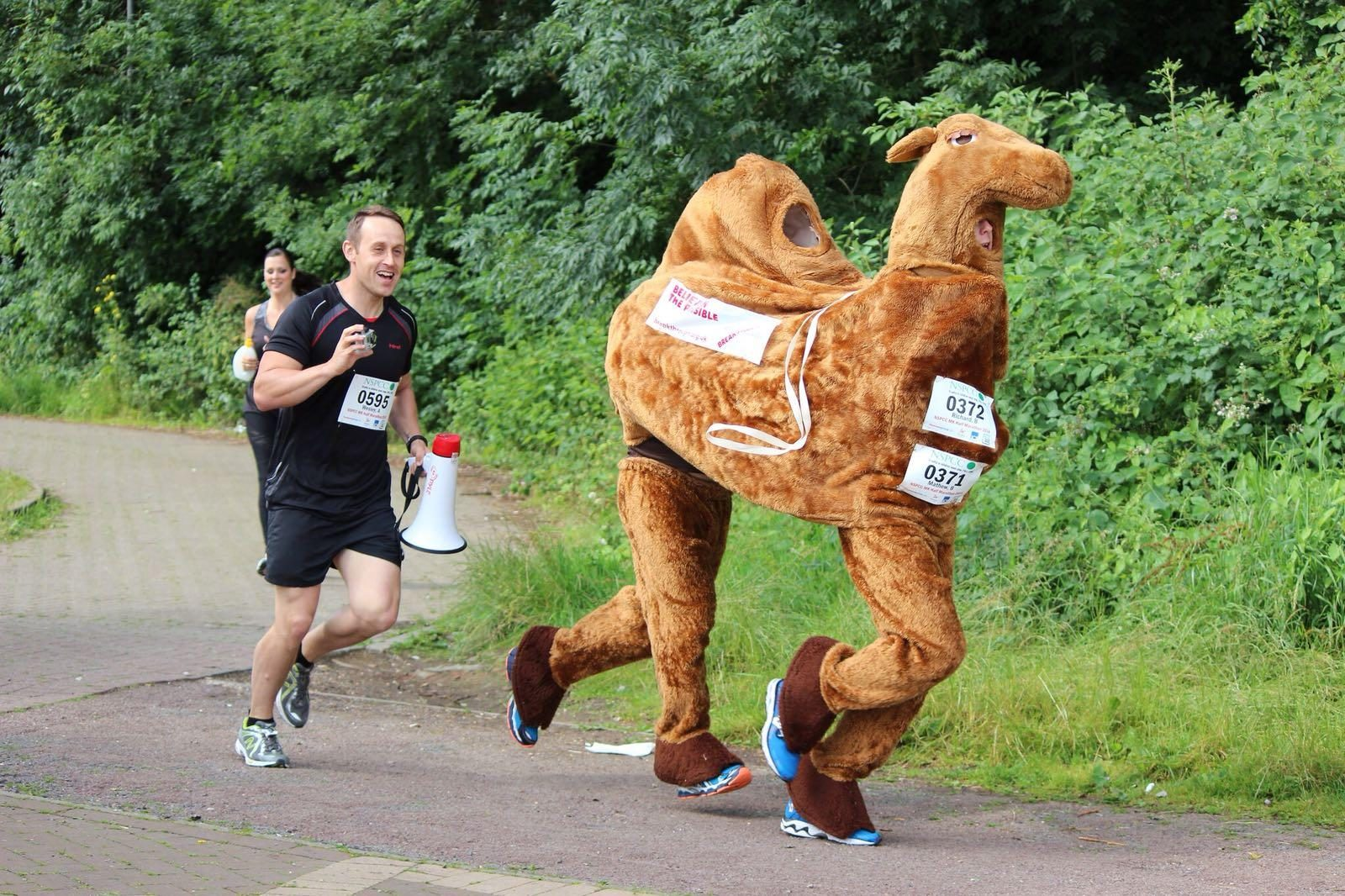Running a race dressed as a camel