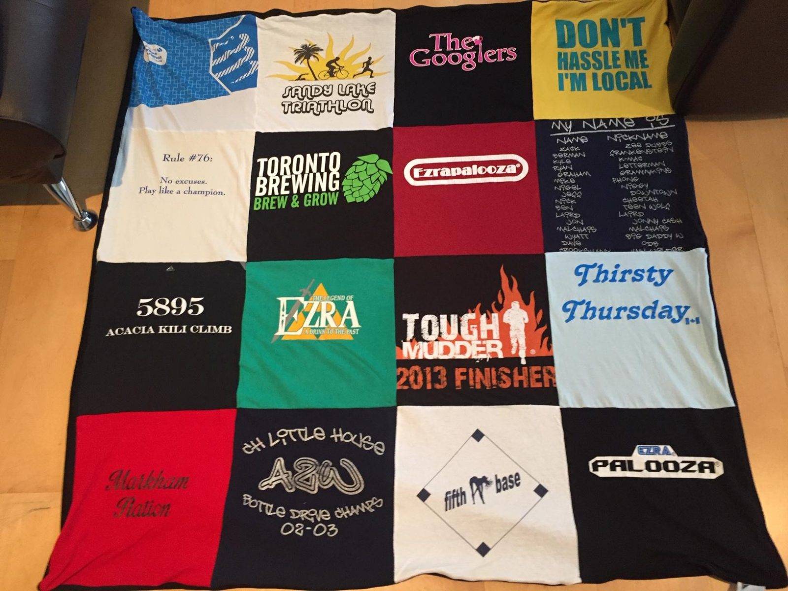T-shirt blanket for runners
