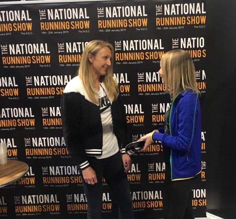 Paula Radcliffe talking to running blogger, Miranda Markham